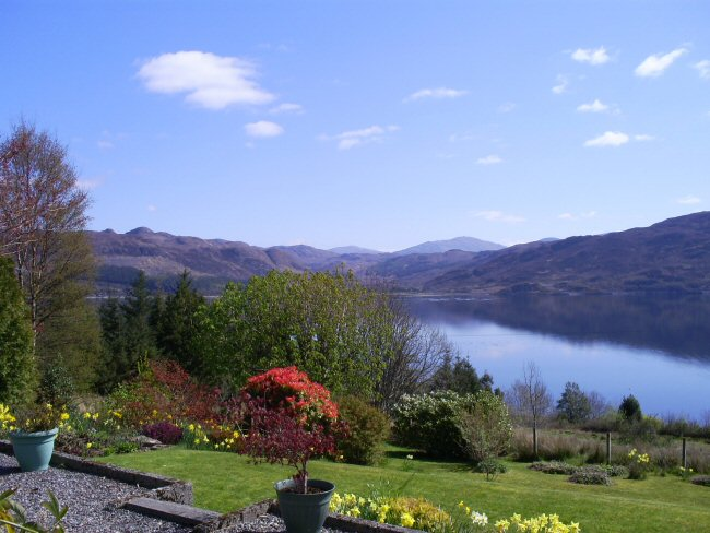 There is a most attractive and well tended garden at Aultsigh bed and breakfast from which there are superb views looking across Loch Carron.